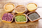 Various food ingredients in a bowls  — Stock Photo