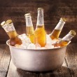 Cold bottles of beer in bucket with ice — Stock Photo #70836469