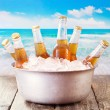 Cold bottles of beer in bucket with ice — Stock Photo #70836481