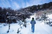 Man in snow forest  — Stock Photo