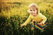 Cute little girl on meadow — Stock Photo