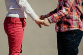 Small boy and girl holding hands — Stock Photo