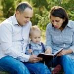 Family reading book in park — Stock Photo #79734234