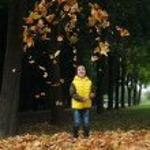 Little funny boy in autumn leaves portrait — Stock Photo #80155566