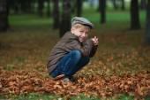 Little funny boy in autumn leaves portrait — Stock Photo