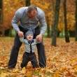 Father with son walking in autumn forest — Stock Photo #80703010