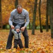 Father with son walking in autumn forest — Stock Photo #80703140