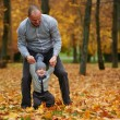 Father with son walking in autumn forest — Stock Photo #80703230