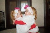 Two cute twin girls — Stock Photo