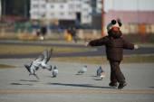 Garotinho, pegar e brincar com os pombos — Fotografia Stock