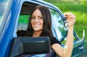 Lady and car — Stock Photo