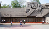 RUSSIA,SEVASTOPOL,SEPTEMBER,18,2014: Memorial of heroic defense of Sevastopol 1941-1942,change of guard of honor. — Stock Photo