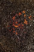 Black soot on metal — Stock Photo