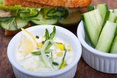 Fresh vegetarian sandwich with garlic cheese dip salad — Stock Photo