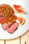 Green peppercorn beef filet mignon — Stock Photo