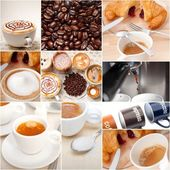 Selection of different coffee type on collage composition  — Stock Photo