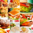 Burgers and sandwiches collection on a collage — Stock Photo #58646527