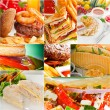 Burgers and sandwiches collection on a collage — Stock Photo #58646541