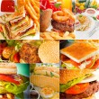 Burgers and sandwiches collection on a collage — Stock Photo #58730951