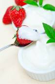 Organic Greek yogurt and strawberry — Stock Photo