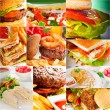 Burgers and sandwiches collection on a collage — Stock Photo #58815429