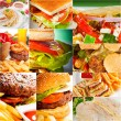 Burgers and sandwiches collection on a collage — Stock Photo #58896015