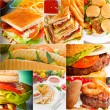 Burgers and sandwiches collection on a collage — Stock Photo #58900737