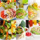 Salad collage composition nested on frame — Stock Photo