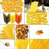 Various type of Italian pasta collage — Stockfoto