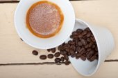 Espresso cofee and beans — Stock Photo