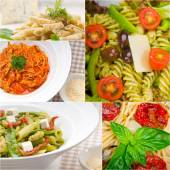 Collection of different type of Italian pasta collage — Foto Stock