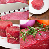 Different raw beef cuts collage — Stockfoto