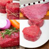 Different raw beef cuts collage — Foto Stock