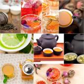 Collection of different herbal tea infusion collage — Foto Stock