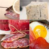 High protein food collection collage — Stock Photo