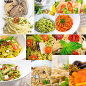 Collection of different type of Italian pasta collage — Stock Photo