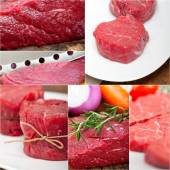 Different raw beef cuts collage — Stock Photo