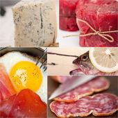 Eiwitrijk voedsel collectie collage — Stockfoto