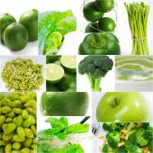 Green healthy food collage collection — Stock Photo
