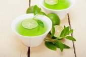 Mint infusion tea tisane with lime — Stock Photo