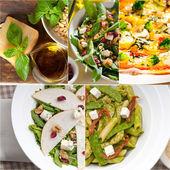 Colagem de saudável e saborosa comida italiana — Fotografia Stock