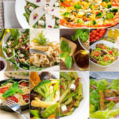 Healthy and tasty Italian food collage — Stock Photo