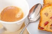 Plum cake and espresso coffee — Stock Photo