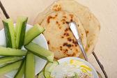 Arab middle east goat yogurt and cucumber salad  — Stock Photo