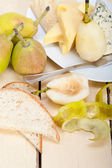 Fresh pears and cheese — Stock Photo