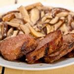 Venison deer game filet and wild mushrooms — Stock Photo #75898365