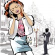 Fashion girl in the street of an old town — Stock Vector #56348607