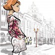 Fashion girl in the street of an old town — Stock Vector #56348621