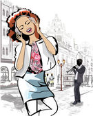 Fashion girl in the street of an old town — Stock Vector