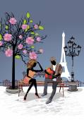 Romantic couple with a guitar sitting on the bench — Stock Vector